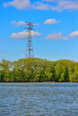 Electricity power pylon over the danube river Royalty Free Stock Photo