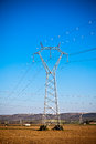 Electricity power pylons at a beautiful countryside against bright blue sky Stock Images