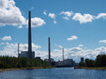 Electricity power station big city urban energy Stock Images