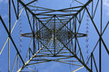 Electricity pylon from below Royalty Free Stock Photo