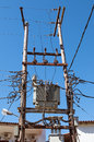 Electricity pylon dangerous looking and cables Stock Image