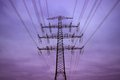 Electricity pylon in the evening energy and environment energy and Stock Photos