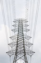 Electricity pylon with gray sky Royalty Free Stock Images