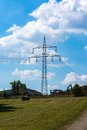 Electricity Pylon Power Lines Landscape Cloud Blue Sky Day Clouds Royalty Free Stock Photo