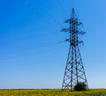 Electricity Pylon - UA standard overhead power line transmission tower Royalty Free Stock Photo