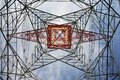 Electricity pylon view from below Royalty Free Stock Photo