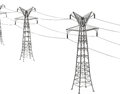 Electricity pylons d generated picture of Royalty Free Stock Photography