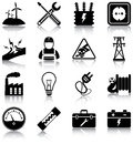Electricity related icons silhouettes Royalty Free Stock Photo