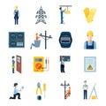 Electricity Repairmen Icons Set Royalty Free Stock Photo