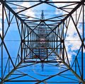 Electricity tower with blue sky Royalty Free Stock Image