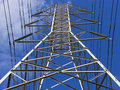 Electricity tower perspective Royalty Free Stock Photos