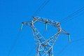 Electricity transmission with a sky as background Stock Photos