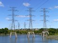Electricity transmission towers Royalty Free Stock Photos