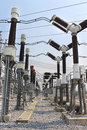Electricity transmission yard high power of in with blue sky Stock Photography