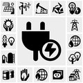 Electricity vector icon set icons on grey background eps file available Stock Photography