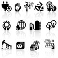 Electricity vector icon set icons on grey background eps file available Royalty Free Stock Images