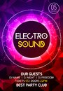 Electro sound party music poster. Electronic club deep music. Musical event disco trance sound. Night party invitation. Royalty Free Stock Photo