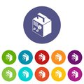 Electro welding machine icons set vector color Royalty Free Stock Photo