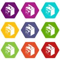 Electro welding machine icons set 9 vector Royalty Free Stock Photo