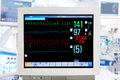 Electrocardiogram monitor in intensive care unit Royalty Free Stock Photography