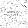 Electromagnetism electric magnetic law theory and physics mathem Royalty Free Stock Photo