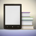 Electronic book reader with a stack of books you may add your own text or picture this is file eps format Stock Photography