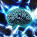 Electronic brain design with binary Stock Image