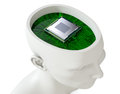 Electronic brain one head of a manikin with an circuit board and a cpu inside it d render Stock Photo