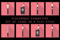 Electronic cigarette, electronic cigarette flat icons, e-cigarette icons, types vaporizers, smoking electronic cigarette, set.