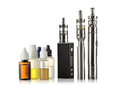 Electronic cigarettes collection isolated on white Royalty Free Stock Photo