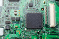 Electronic circuit board with components focused to middle part Stock Photo