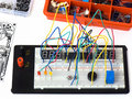 Electronic circuit on a breadboard (raster) DIY Royalty Free Stock Photography