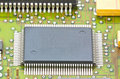 Electronic circuit chip on board Royalty Free Stock Photo