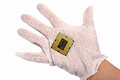 Electronic collection - Hand holds computer CPU processor chip i Royalty Free Stock Photo