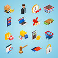 Electronic commerce isometric icon set with gadgets for buying on internet shopping Royalty Free Stock Photo