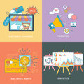 Electronic commerce statistic promotion set of banners and money with item icons in flat design style Stock Photo