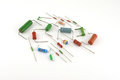 Electronic components resistors over white Stock Photo