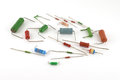 Electronic components resistors over white Stock Images