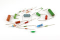 Electronic components resistors over white Stock Image