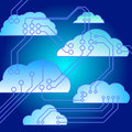 Electronic connected clouds Royalty Free Stock Photos