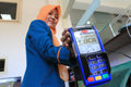 Electronic data capture the cashier showed tool for non cash transactions d in the city of solo central java indonesia Royalty Free Stock Photo