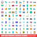 100 electronic device icons set, cartoon style