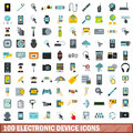100 electronic device icons set, flat style