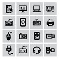 Electronic devices icon vector black of set Stock Photography