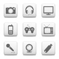 Electronic devices icons web buttons set isolated on white background Stock Images
