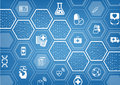 Electronic e-healthcare blue background with hexagonal shapes