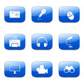 Electronic Equipment Square Vector Blue Icon Royalty Free Stock Photo