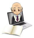 An electronic gadget with a bald old man illustration of on white background Stock Photos