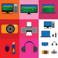 Electronic gadgets collage - television, camera Royalty Free Stock Photos