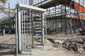 Electronic gate steel entrance to a construction site Stock Image